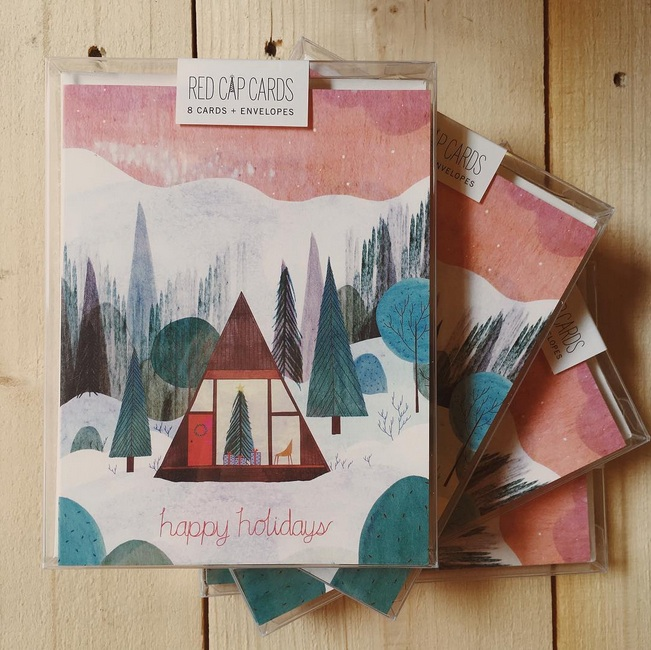 "@redcapcards: ""One of my new favorite holiday cards by @josie_portillo. I'm ready to check into this cabin and watch the snow fall."""